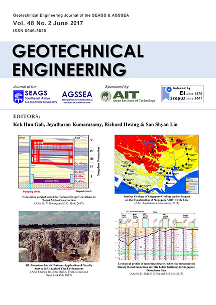 Geotechnical Engineering Journal of the SEAGS & AGSSEA Vol. 48 No. 2 June 2017 ISSN 0046-5828 Papers on Mass Transit Projects & also contributed papers Editors: Kok Hun Goh, Jeyatharan […]
