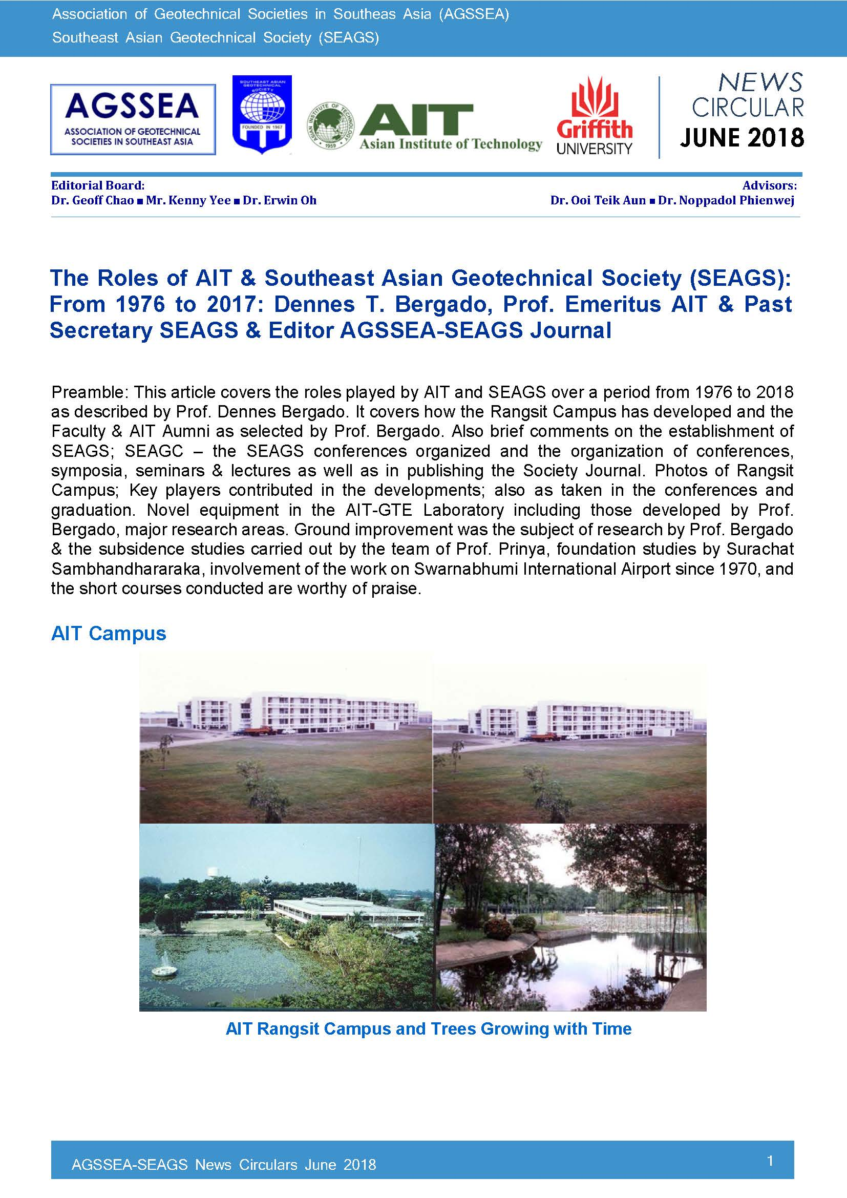 The Roles of AIT & Southeast Asian Geotechnical Society (SEAGS): From 1976 to 2017: D. T. Bergado, Prof. Emeritus AIT & Past Secretary SEAGS & Editor AGSSEA-SEAGS Journal  [cont.]   […]