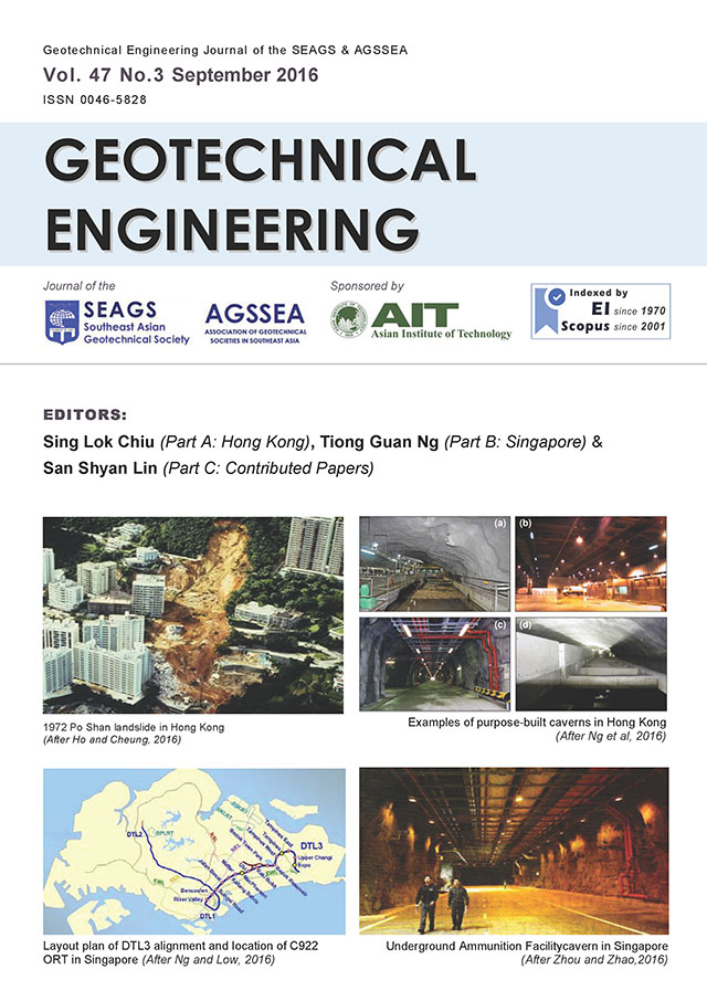 Geotechnical Engineering Journal of the SEAGS & AGSSEA Vol. 47 No. 3 September 2016 ISSN 0046-5828 HONG KONG AND SINGAPORE SPECIAL ISSUE Editors: Sing Lok Chiu (Part A: Hong Kong), […]